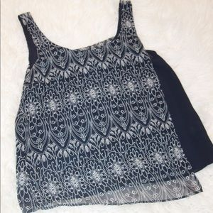 Forever 21 Floral Navy and Cream Sleeveless Top